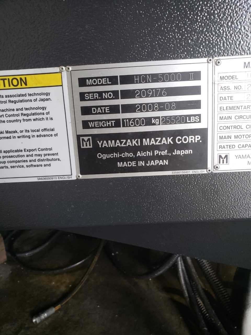 Used 2008 Mazak Hcn 5000 Horizontal Maching Center Asi Machine Tool Lathe Wiring Diagram